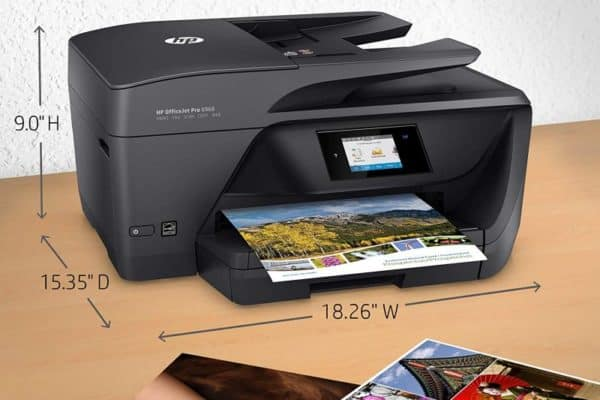 HP OfficeJet Pro 6968 Printer and its dimensions