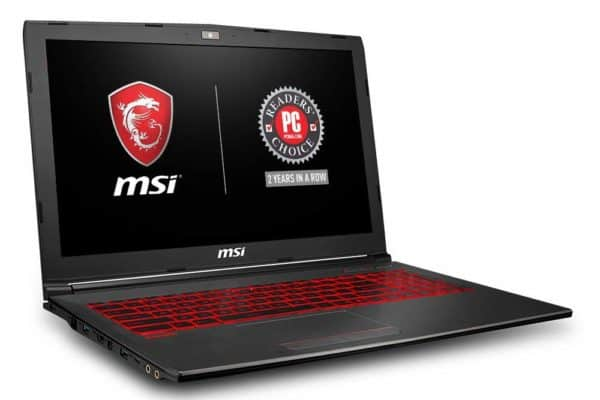 Image shows the MSI GV62 8RD-200 display and keyboard