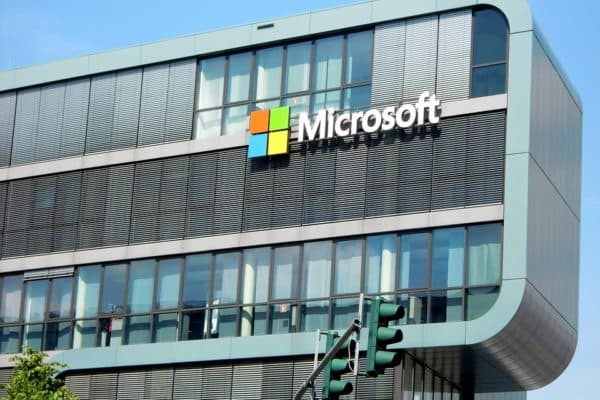 Image shows the Microsoft building, home of MS Office