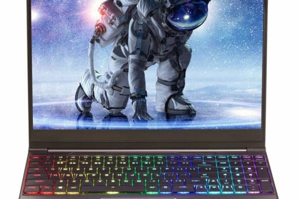 Image shows the Eluktronics Mech-15 G2R Pro-X laptop's front deck, display and design
