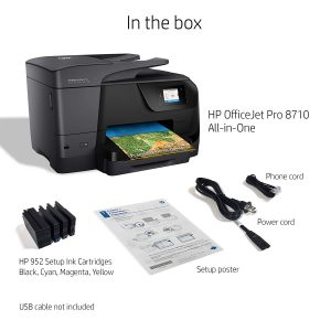Image shows other accessories that come with the Officejet printer. That includes the cables