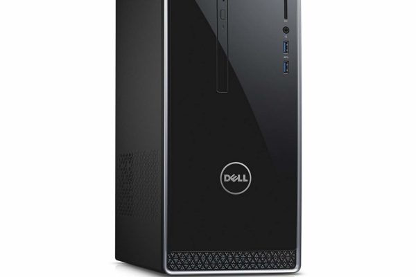 A side view of the Dell Inspiron i3650-3756SLV Desktop showing the ports and vents (on the sode panel)