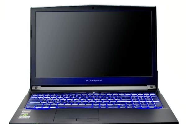 Image shows the Eluktronics N870HP6 Pro-X laptop display and keyboard