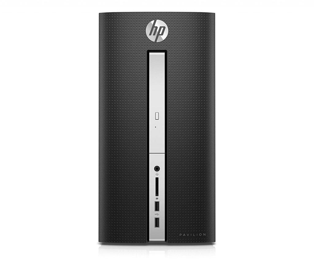 Image shows the front deck of the HP Pavilion 510-p020 Desktop.