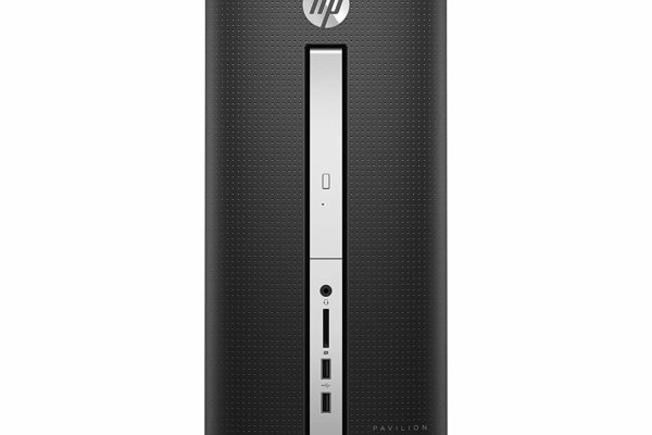 Image shows the front deck of the HP Pavilion 510-p020 Desktop.