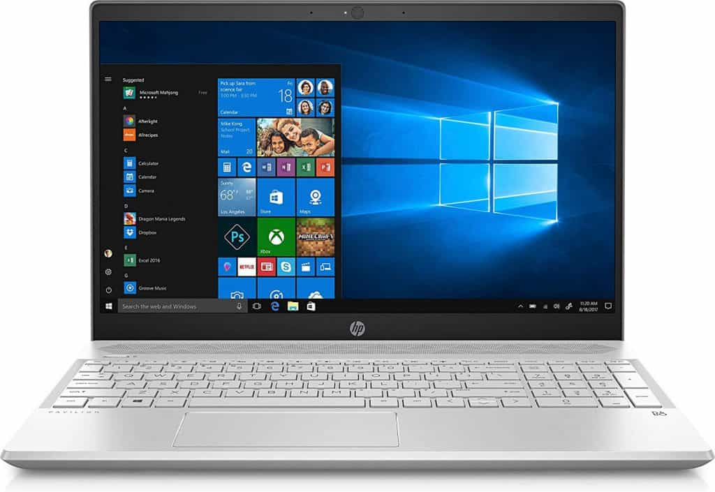 The HD display of the HP Pavilion laptop