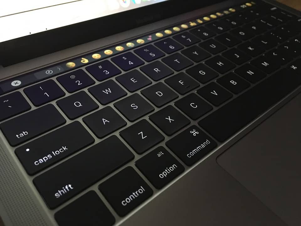Image of the MacBook Pro 13 keyboard and touchbar