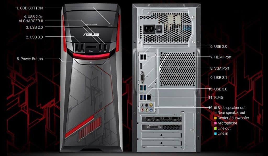 Front face of the ASUS G11CD-DB52 Desktop