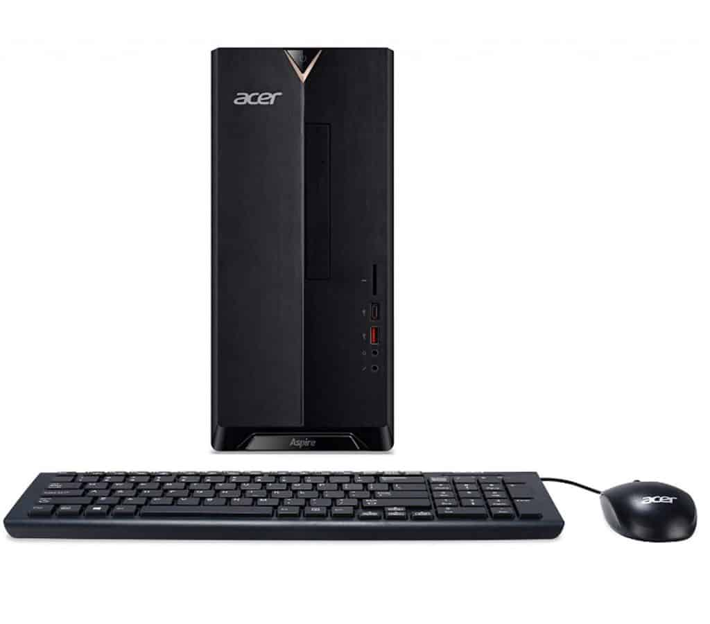 The front face of Acer Aspire TC-885-UR16 Desktop is neat and comes with an optical drive.
