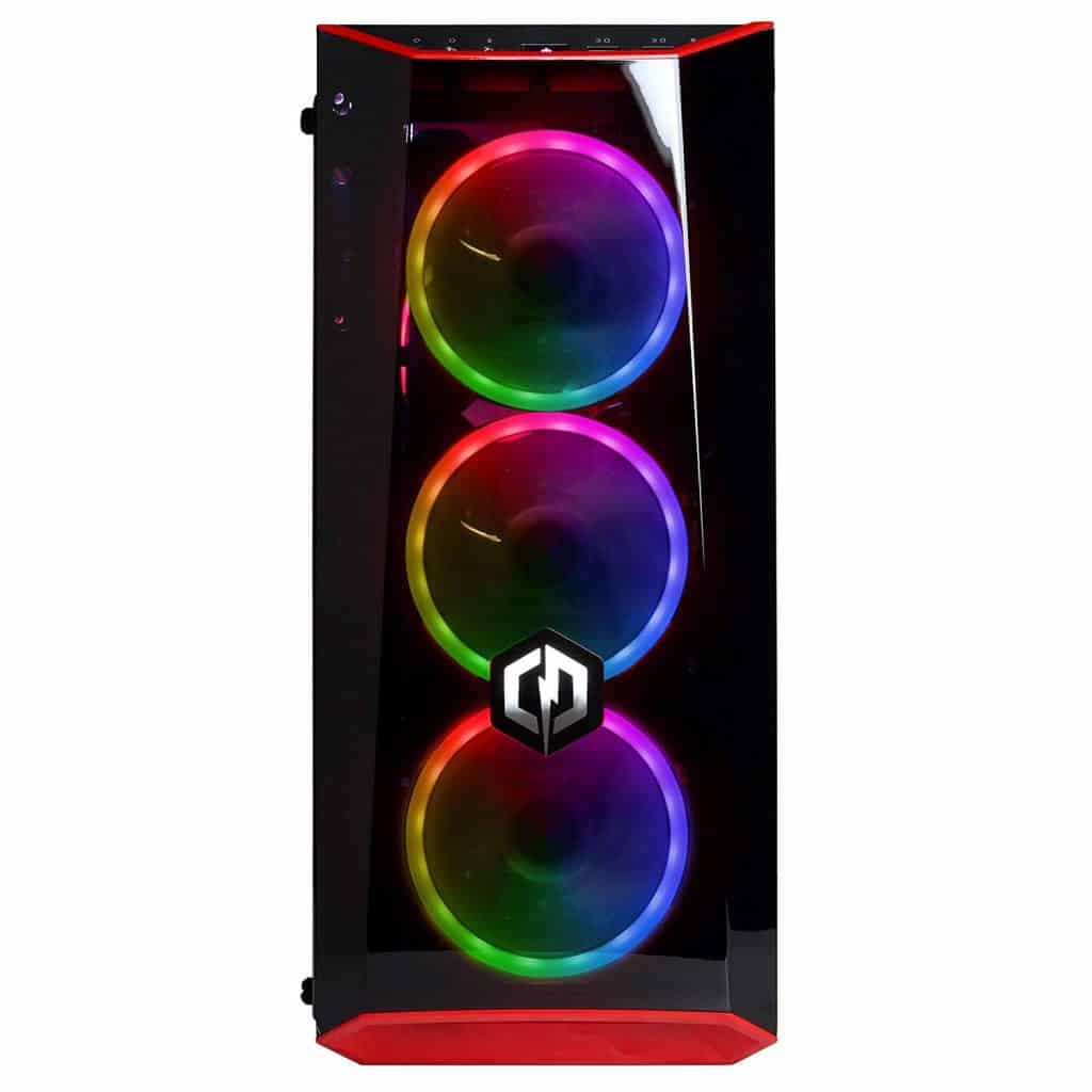 The three LED rings at the front of the CyberpowerPC Gamer Xtreme VR GXiVR8500A desktop