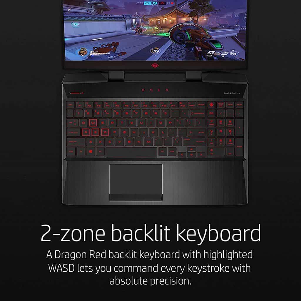 The HP Omen 15-dc0045nr laptop keyboard