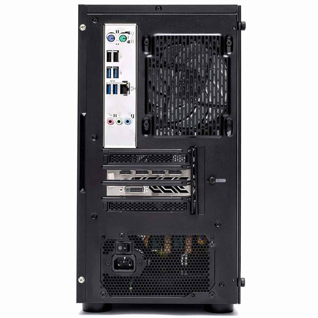 The rear section of the SkyTech [RX580 Version] Blaze desktop