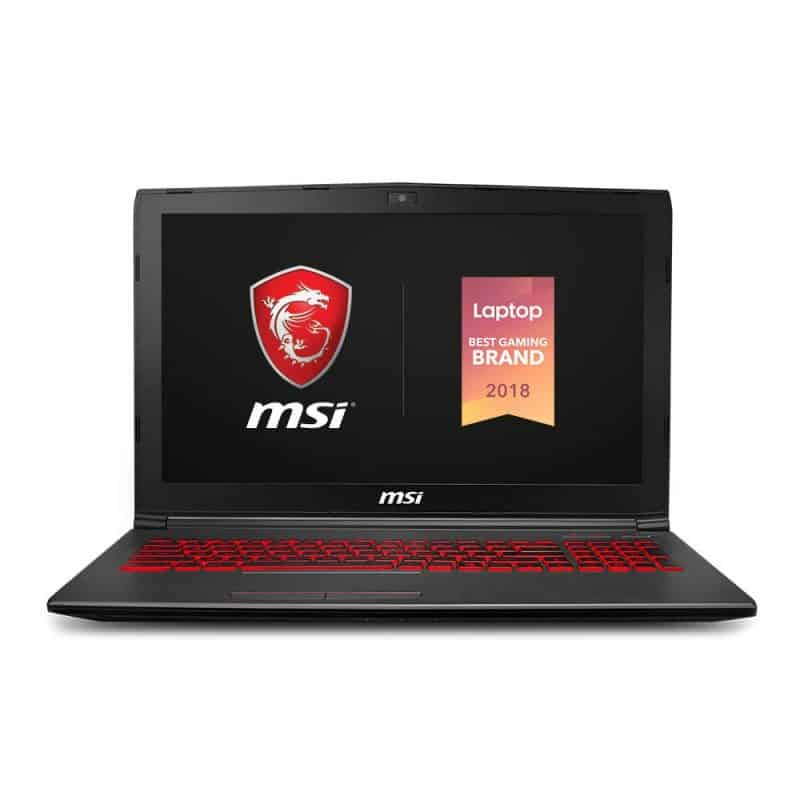 Image shows the front section of the MSI GV62 8RD-275 laptop.