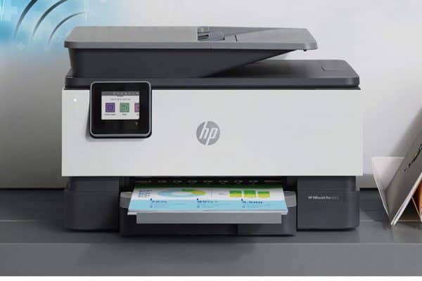 A close up image of the HP OfficeJet Pro 9015 Printer