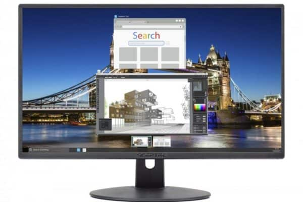 A close up image of the Sceptre E205W-16003R monitor and display