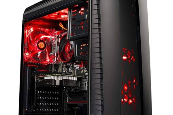 A front view of the Skytech Gaming ST-SHADOW-002 desktop