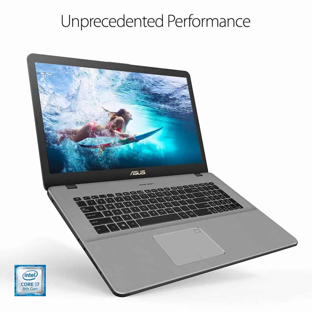 The display and keyboard of the Asus VivoBook Pro 17 N705FD-ES76 laptop