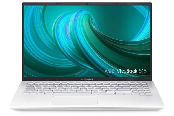 The display, thin bezel and keyboard of the Asus Vivobook S15 S512FA-DB71 laptop