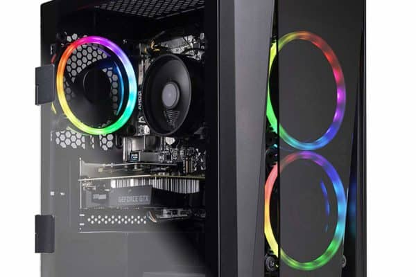A front view of the SkyTech Blaze II Gaming Desktop