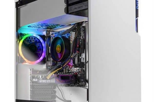 The SkyTech Shiva Gaming PC's impressive design includes a glass side panel