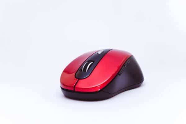 A black and red mouse