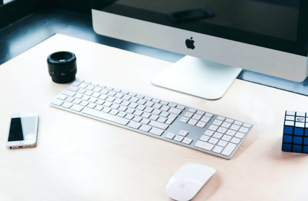 Mac with a wireless keyboard and a wireless mouse
