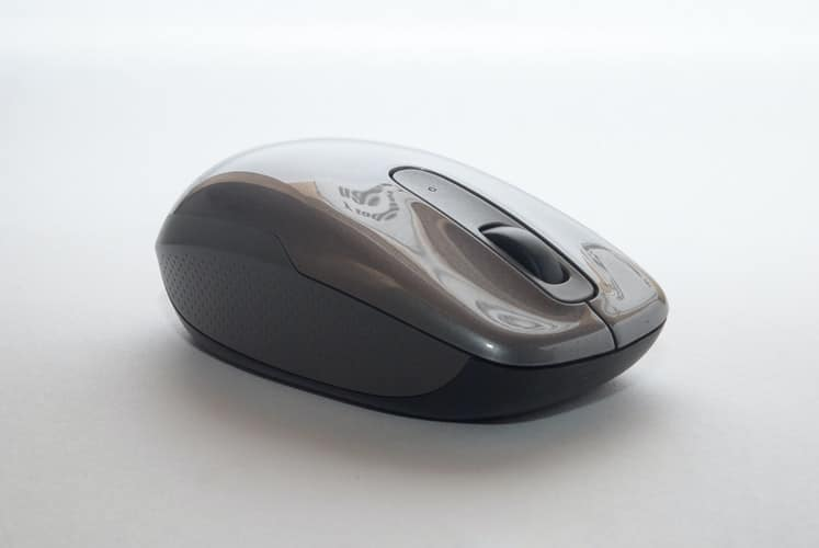 A black wireless mouse