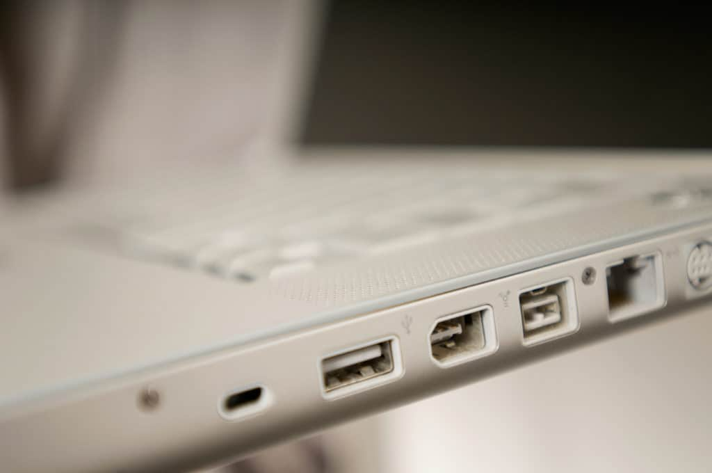 Close up of a laptop's various ports