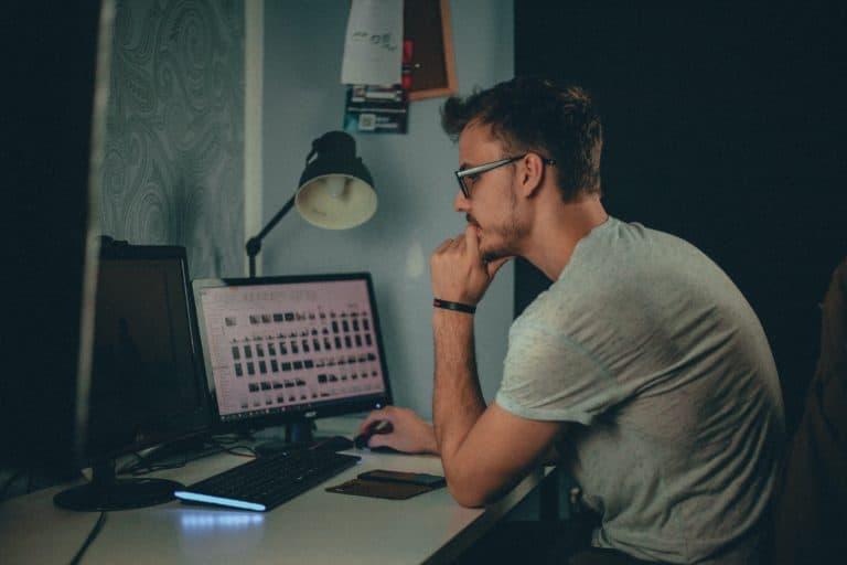 Man wondering if his desktop computer has wiFi