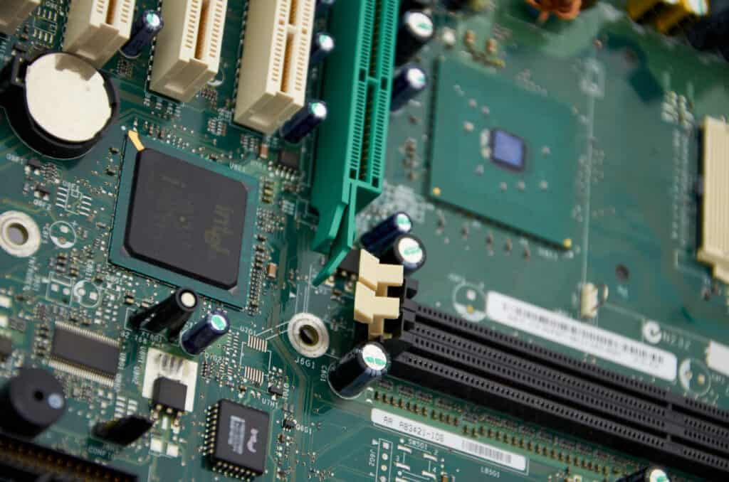 Close up of a motherboard