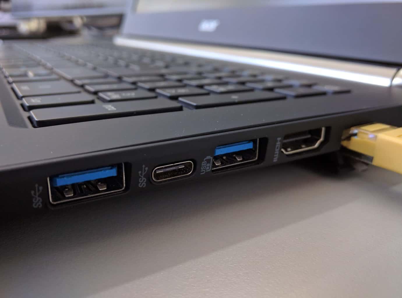 Close up of laptop ports
