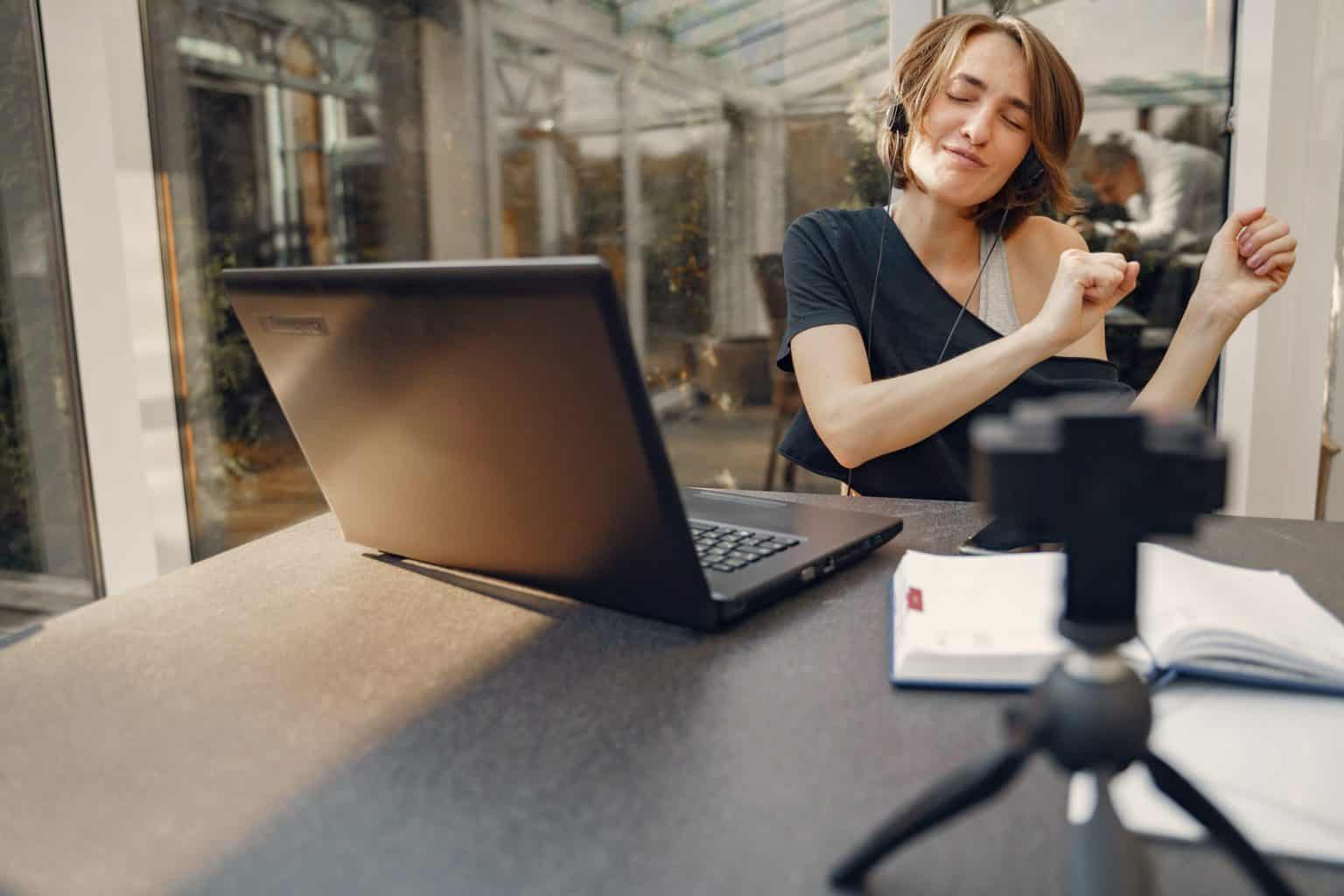 Woman using her webcam while doing a vlog for YouTube