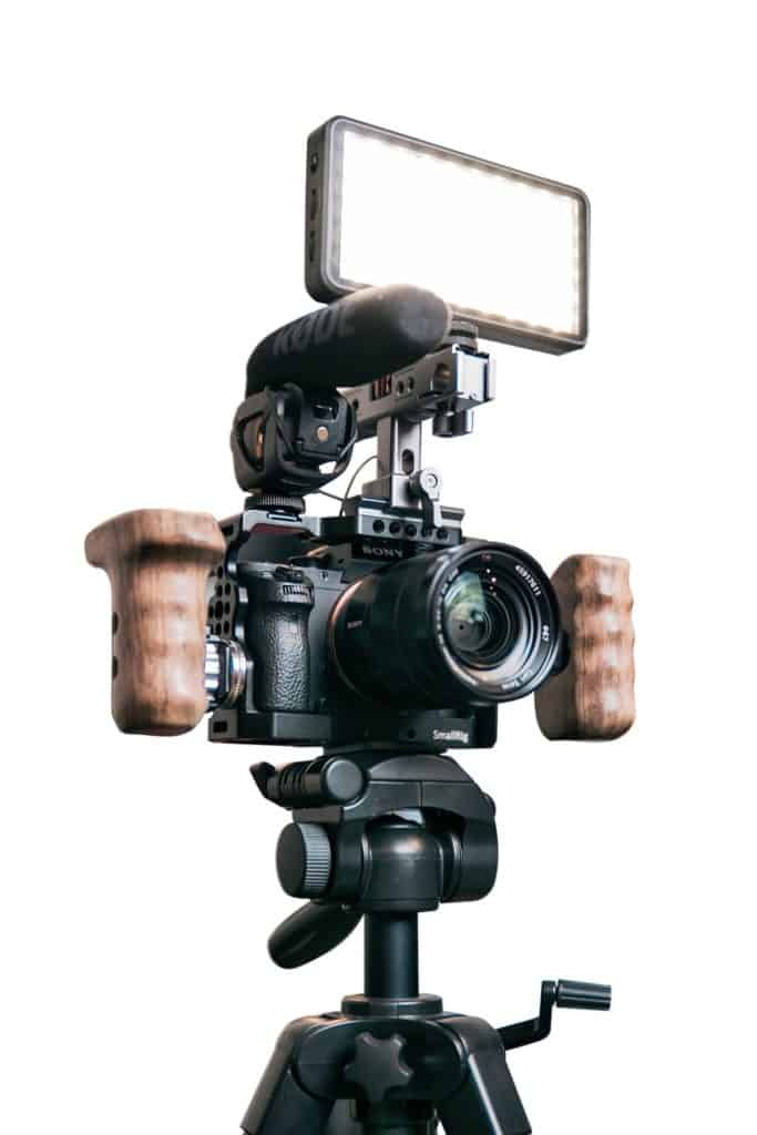 Webcam for YouTube propped on a tripod